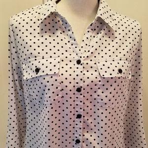 Kim Rogers white w/ black polka dots bottoms down